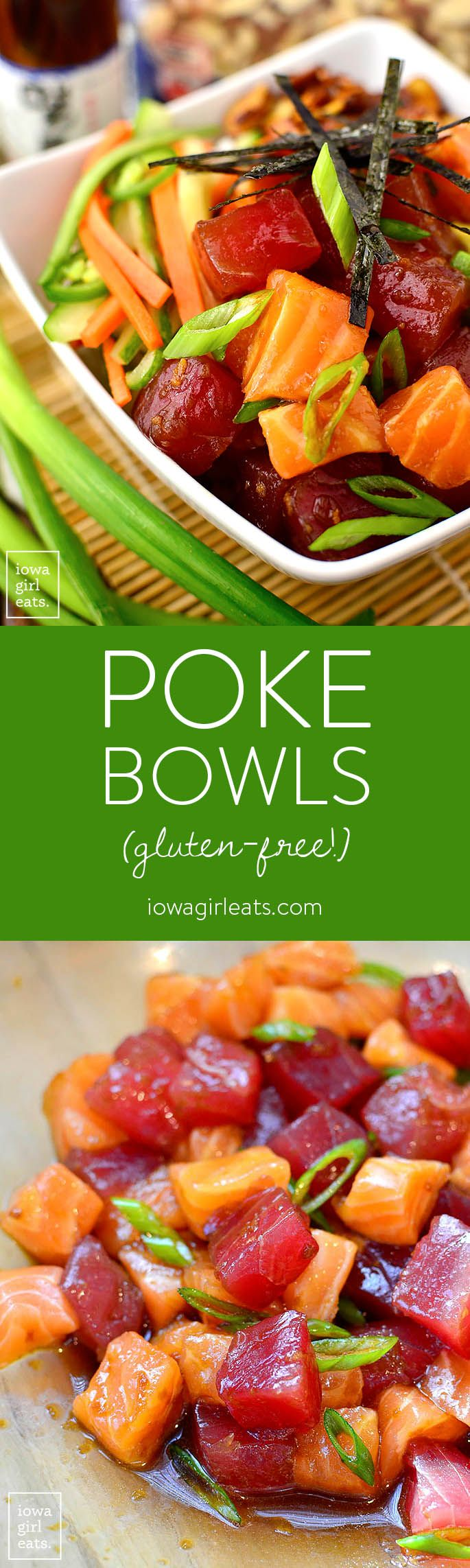 Get a taste of Hawaii at home with Poke Bowls with Sesame-Soy Almonds! These gluten-free, deconstructed sushi bowls are popular in the islands, but are fun and easy to assemble on the mainland! | iowagirleats.com