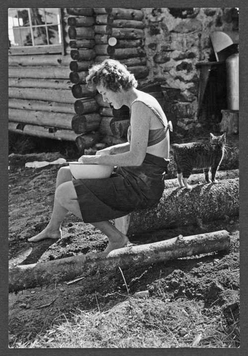 Julia, 1951....When Julia Child first visited the Child family cabin in Lopaus Point, Maine, her cooking skills were non-existent. She began gradually with KP duties like peeling potatoes and chopping onions.