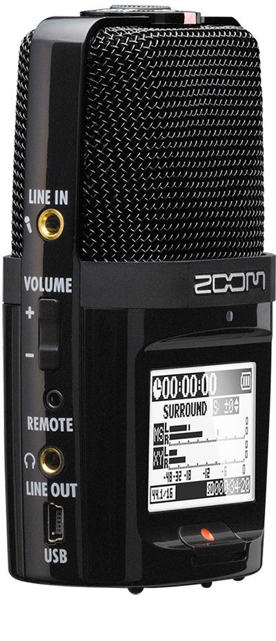 The H2n Handy Recorder is the only portable recording device to come with five built-in microphones and four different recording modes: X/Y, Mid-Side, 2-channel surround and 4-channel surround. Other advanced features include automatic gain control and onboard MS decoding, plus effects like compression, limiting and low cut filtering. You can even use the H2n as a multi-purpose USB microphone!