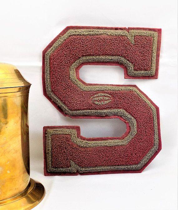 Letterman Patch, Football, Letter S, Pennsylvania Letterman Memorabilia, Burgandy and Gray Trim, Vintage Accessories