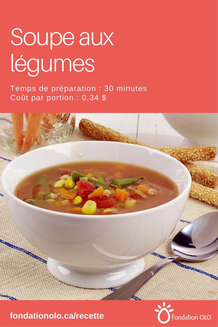 """Recette de soupe aux légumes, une recette """"touski"""" pour utiliser les légumes qu'on veut éviter de perdre. Seulement 0,34$ par portion!    ---  Recette facile, Recette économique, Recette rapide, Recette nutritive --- #Soupe #Tomate"""