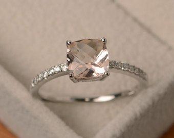 Morganita anillo anillo de compromiso corte de por LuoJewelry