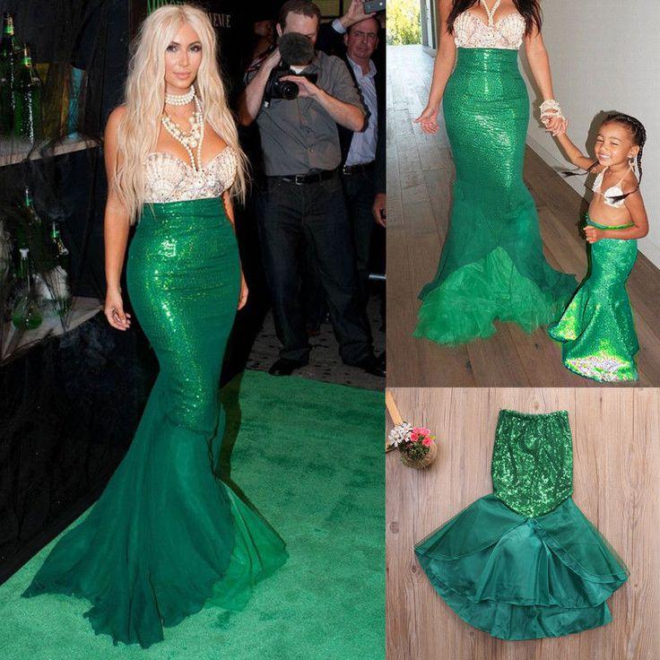 xmas womens kids girls mermaid halloween costume fancy party dresses tail skirt - Mermaid Halloween Costume For Kids