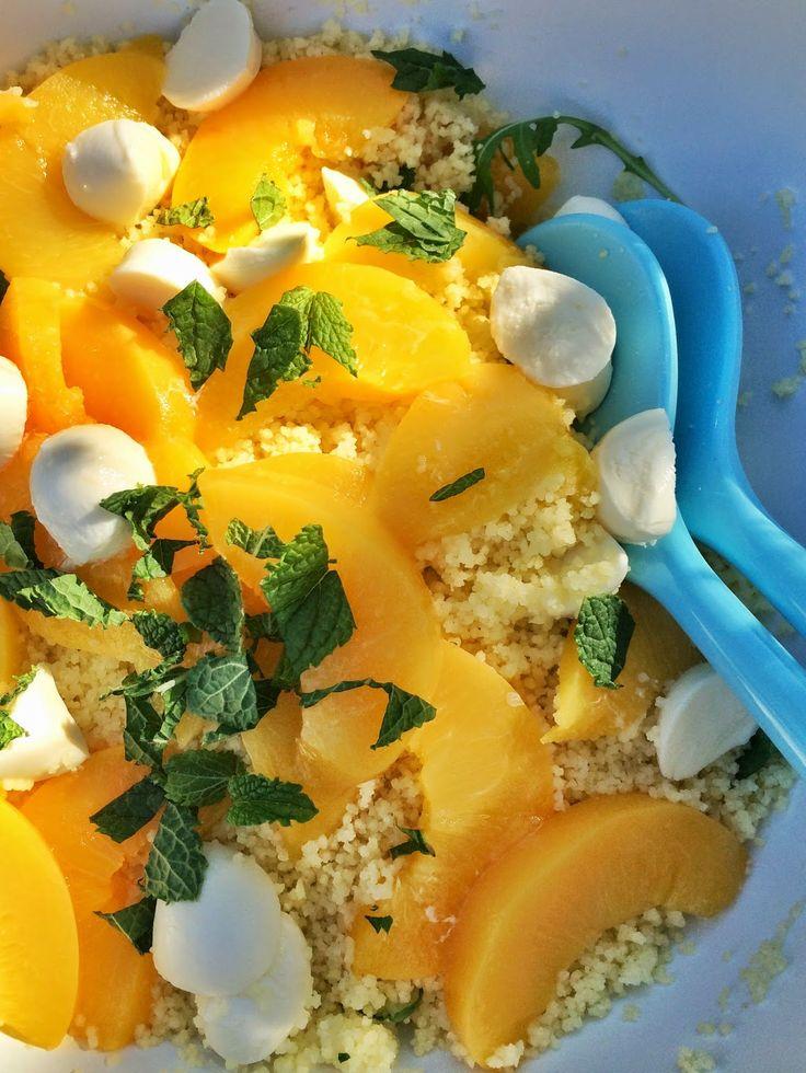 couscous, peach, mozzarella and mint salad