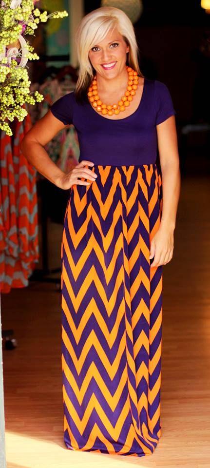 gorgeous game day arrival orange purple chevron maxi dress go clemson tigers. Black Bedroom Furniture Sets. Home Design Ideas