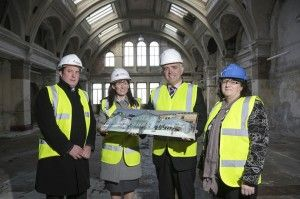 Pictured in one of the iconic Drawing Offices where work has begun on the world's most authentic Titanic-themed hotel at Belfast's Titanic Quarter are James Eyre, Titanic Quarter's Commercial Director, Kerrie Sweeney, Titanic Foundation's CEO, Angela Lavin, Heritage & Lottery Fund and Northern Ireland's Enterprise Minister, Jonathan Bell.