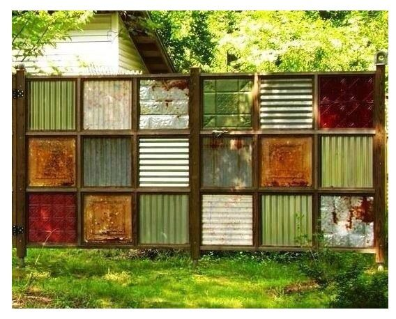 Square panel infill fence idea. Pressed tin corrugated iron... Colours