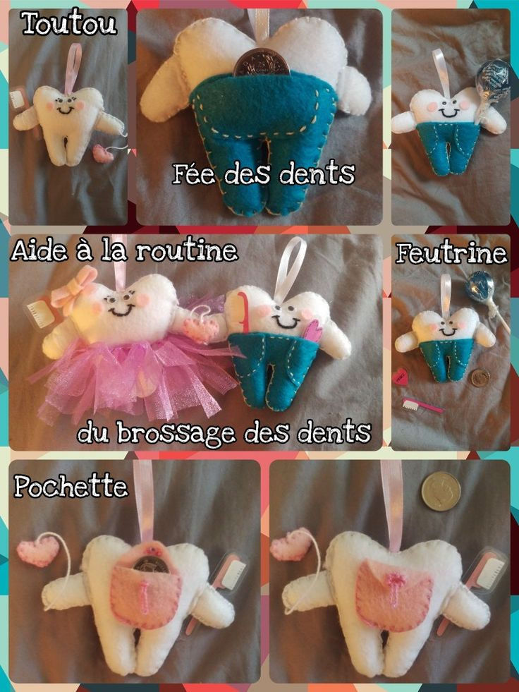 Dents feutrine  M. Dentifrice et Mme Dentyne (fée des dents)