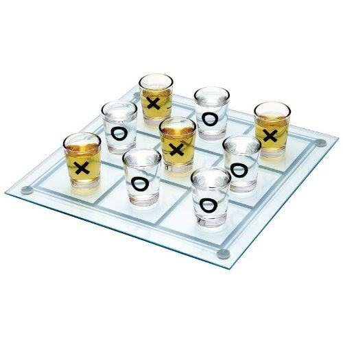 """Adult Fun and Drinking Games: The XOXO Shot Glass Tic-Tac-Toe Game by Ink Correct. $16.50. Features glass game board and 9 shot glasses. Game board measures 9-3/4"""" x 9-3/4"""". Gift boxed."""