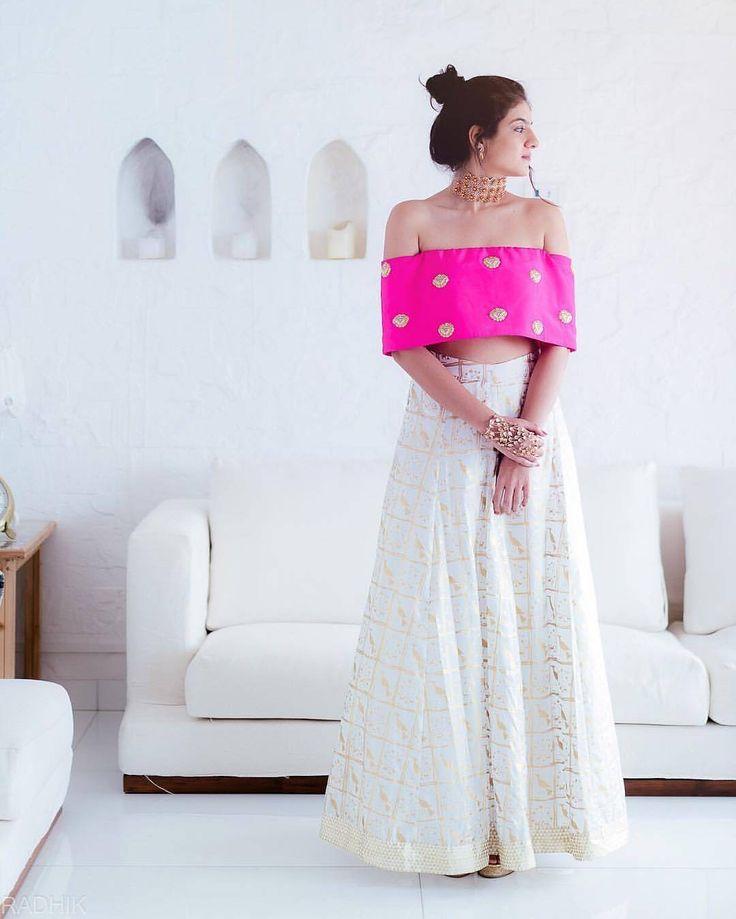 Contemporary #bridesmaids outfits anyone?  #lehenga by @houseofmasaba  #indianwedding #hotpink #ootd #shaadibazaar #wedding #indianwedding