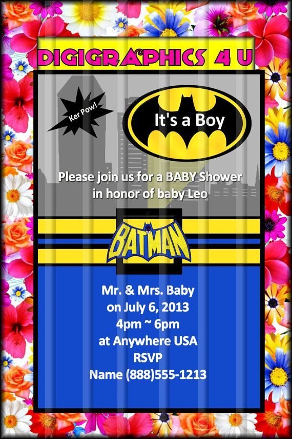 personalized batman baby shower or birthday by digigraphics4u