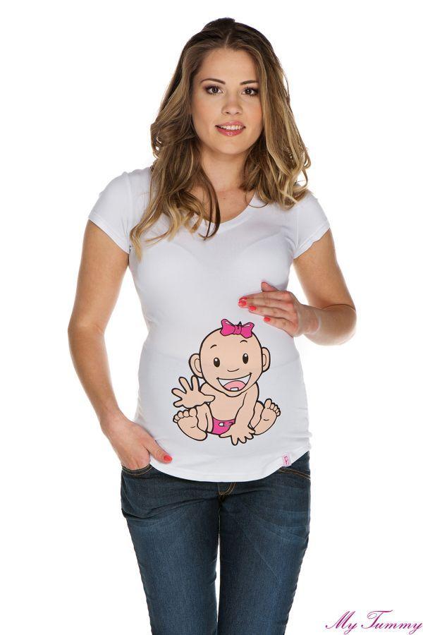 T-shirt ciążowy Dziewczynka II biały