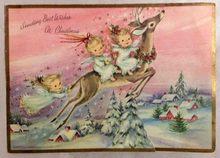 Three Angels Reindeer Flying Pink Sky Gold Stars Vintage Christmas Greeting Card   eBay