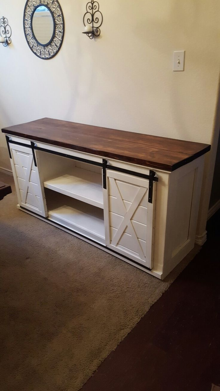 Entertainment Center With Sliding Barn Doors For The