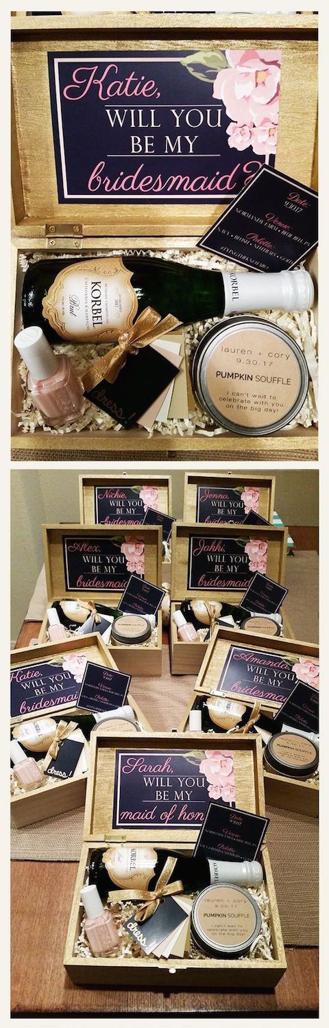 Bridesmaid invitation boxes you can do yourself. Just pick your favorite makeup, lotions, moisturizers and nail polish!