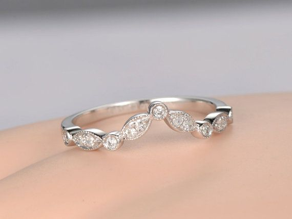 Curved V Milgrain Diamond wedding band solid 14k by PENNIjewel