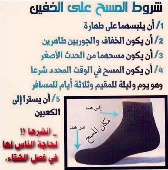 المسح على الخفين والجوربين والجبيرة والعصابة ونحو ذلك Quran Verses Prayers Islam