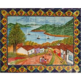 Mexican hand painted tile mural step on it paving for Mural mexicano