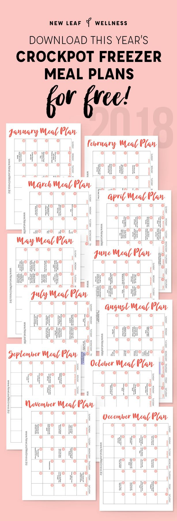 Download a FREE year's worth of printable Crockpot Freezer Meal Plans. Psst! Looking for even more freezer cooking meals? Be sure to check out the extensiveNew Leaf Wellness eCookbook Collection! It has something for everybody — even those with specific …