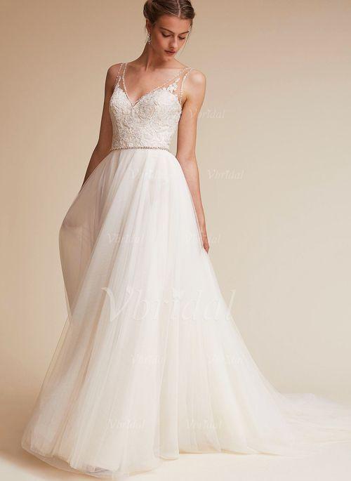 Robes de mariée - $173.91 - Forme Princesse Col V Traîne moyenne Tulle Robe de mariée avec Perles brodées (0025119954)