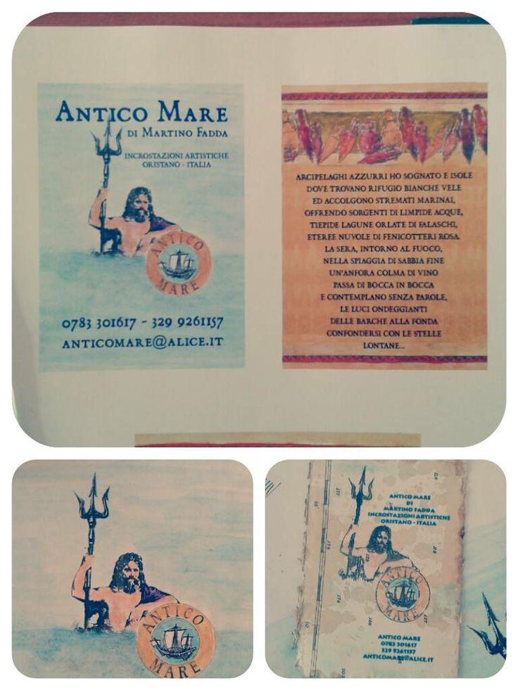 Biglietti da visita work in progress per l'artista Martino Fadda, dalla sua idea e illustrazioni alla stampa su vecchie carte nautiche e infine anticati dall'artista stesso!