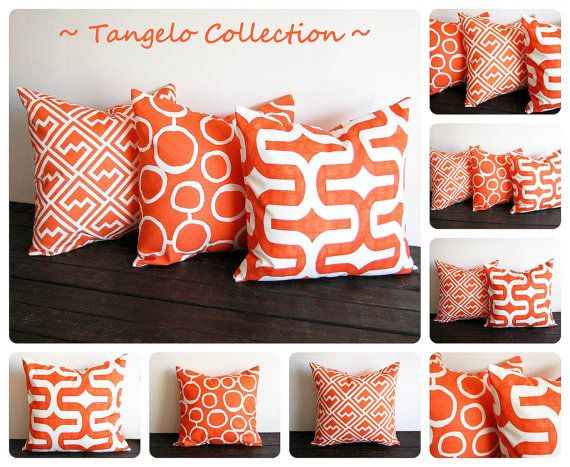 "Orange pillow cover 20"" x 20"" ONE cushion cover Tangelo tangerine orange decorative throw pillow cushion cover pillow sham. $18.00, via Etsy."