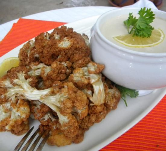 Fried Cauliflower with Tahini Sauce | Hadia's Lebanese Cuisine