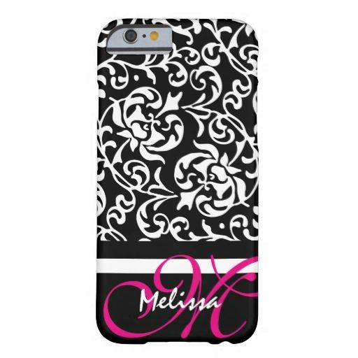 Elegant Monogram Black and Hot Pink Damask Barely There iPhone 6 Case