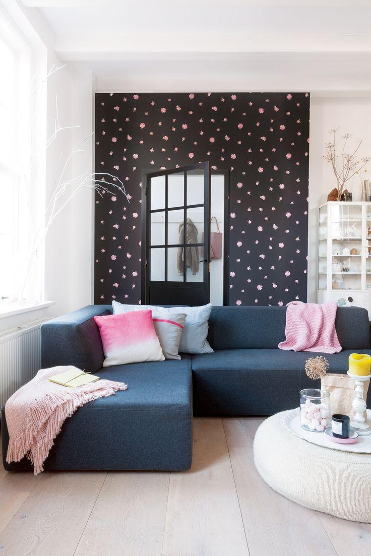 Dark brown flowers wallpaper/behang Bloomsbury - BN Wallcoverings