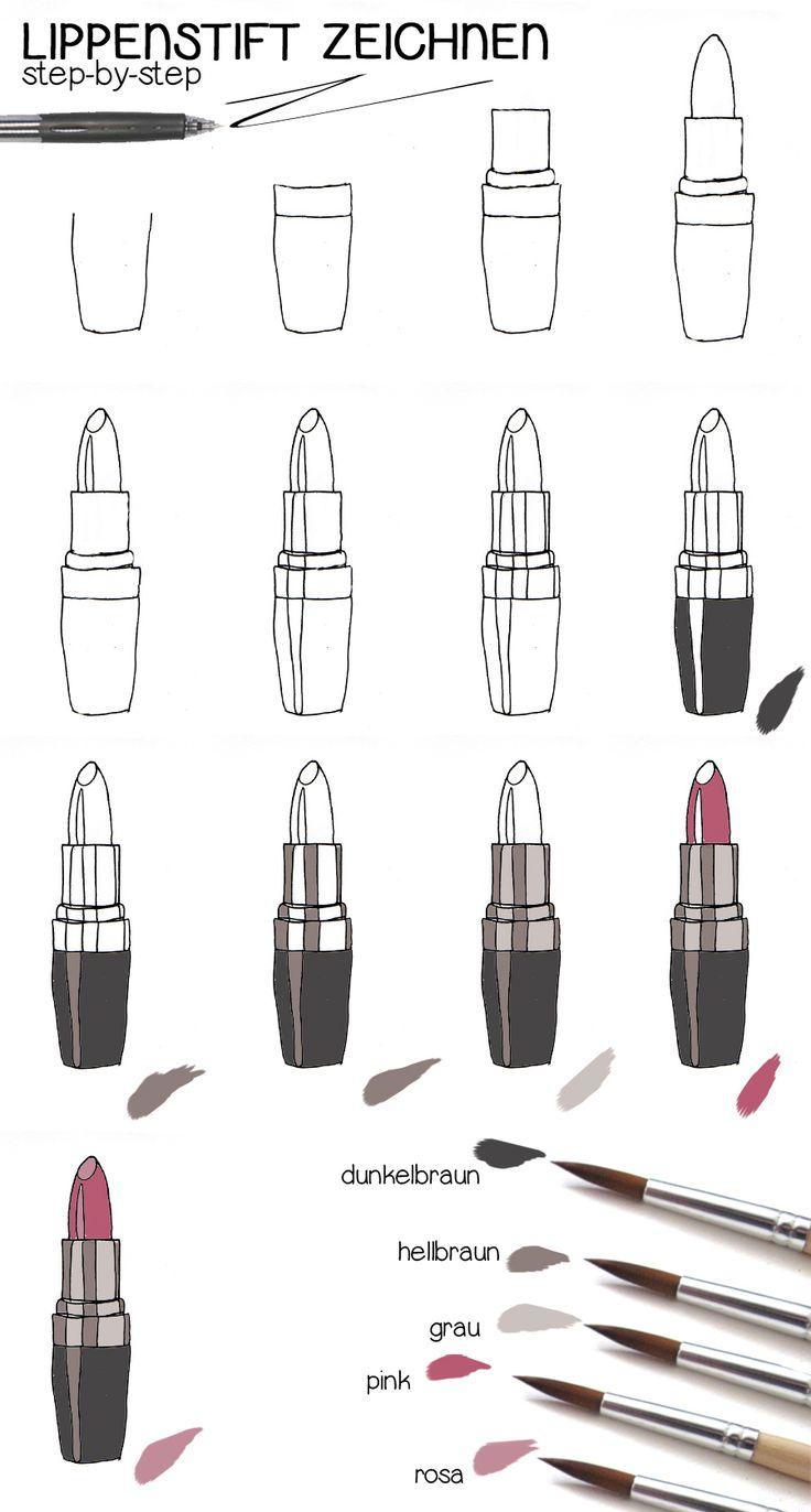Lippenstift zeichnen >> Anleitung <<