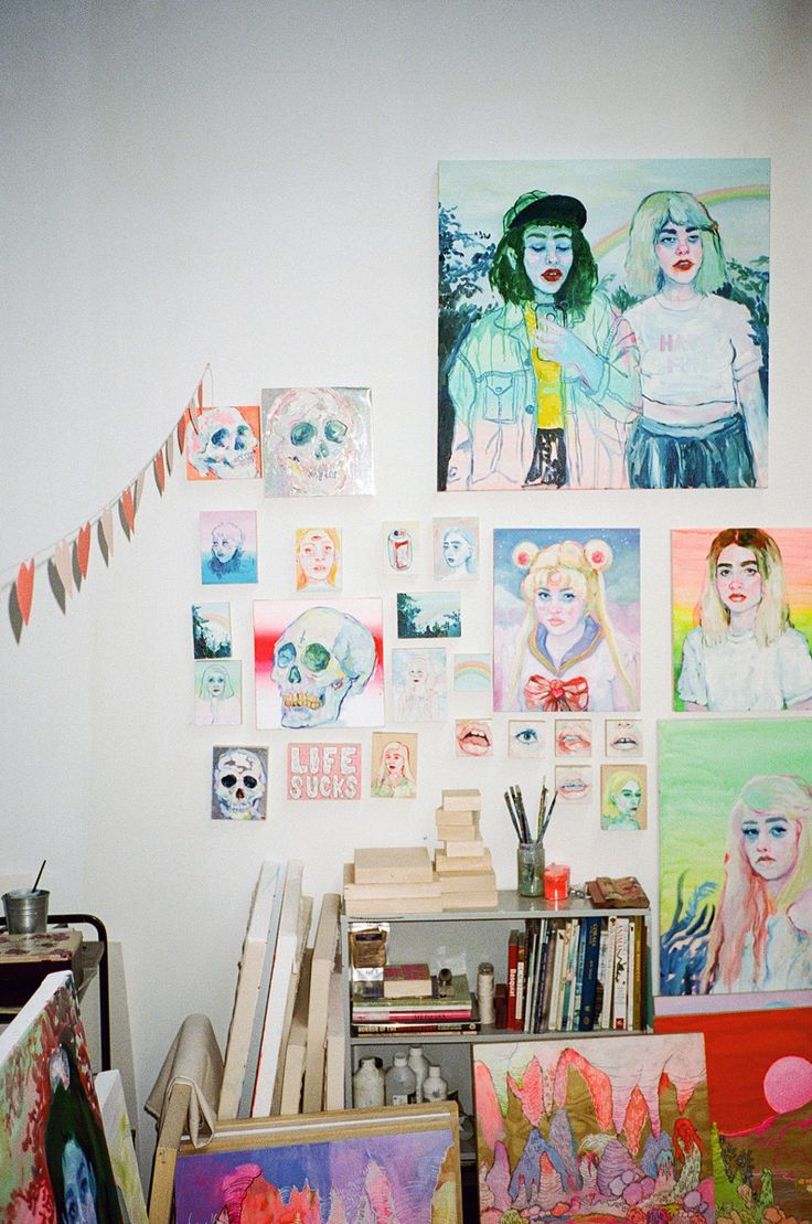 Peek into the wildly colorful world of Toronto-based painter Shanna Van Maurik, who uses Instagram to find the inspiration for her paintings of rainbow-glo women with a bite-me edge. #Art #ArtCrush #ShannaVanMaurik #Toronto #Painter #Painting #Women #Neon #StudioVisit
