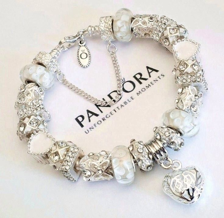 """Authentic PANDORA Sterling Silver Bracelet """"SNOW WHITE"""" with European Charms. #Pandora #European"""