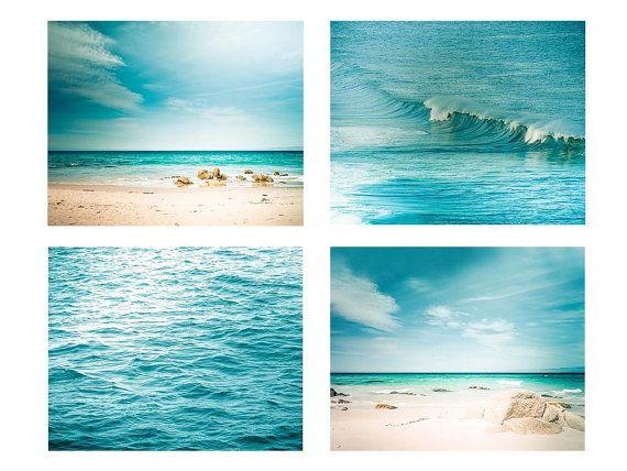 nautical decor print set beach photography oean coastal print 8x10 8x12 11x14 teal wall art aqua teal blue abstract water waves photo summer