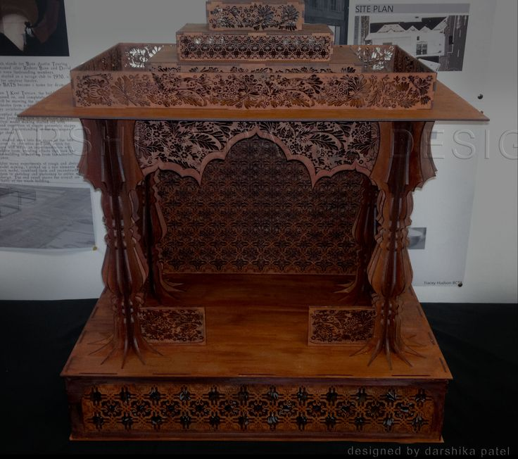 LASER CUT PROJECT, TEMPLE FOR HOME USE. MADE FROM TIMBER AND VARNISHED TO GIVE IT AN ANTIQUE LOOK,  Laser Cut Shrine, Laser Cut temple, Intricate Laser Cutting, For home use, Gift. Model Making, Project