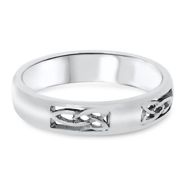 14ct White Gold Celtic Design 4mm Ladies Vintage Wedding Ring FT01/M