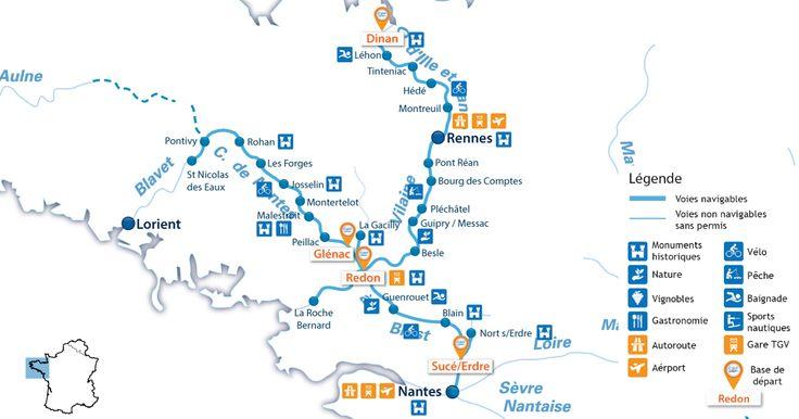 Zoom Carte de location de peniche en Bretagne, Canal de Nantes à Brest