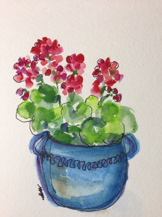 Geraniums Watercolor Card by gardenblooms on Etsy