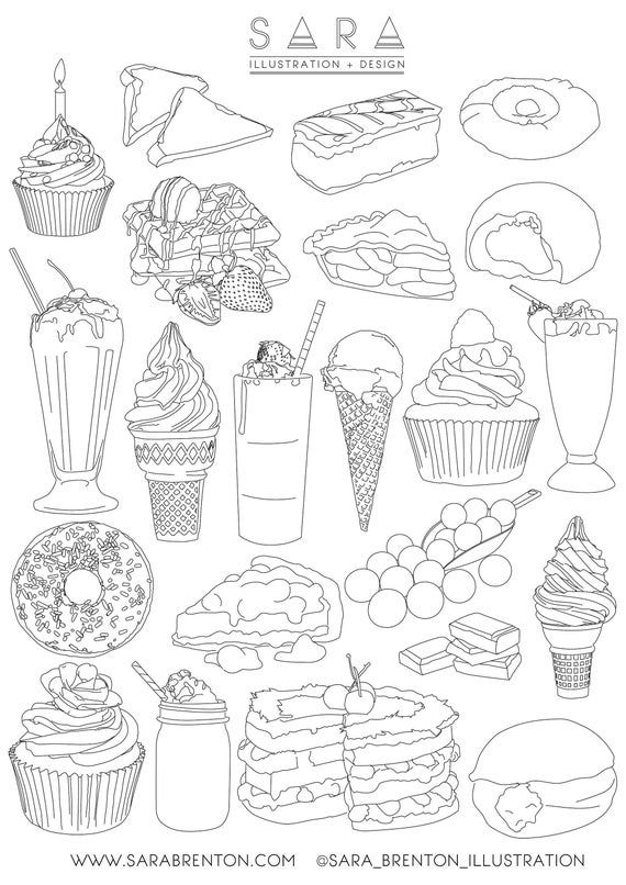 Dessert Illustrations Colouring Sheet Printable Or For The Etsy In 2021 Food Coloring Pages Cute Food Drawings Coloring Pages