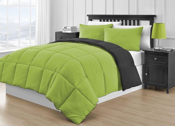 P&R Bedding Reversible Microfiber Black & Lime Green 3-Piece Comforter Set (Queen, Black & Lime Green)