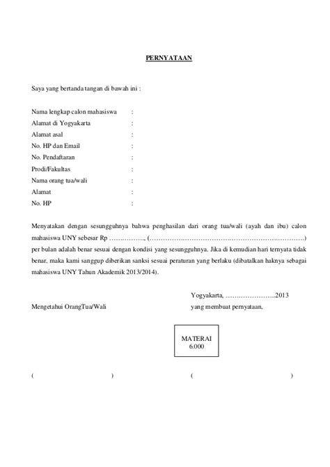 Contoh Surat Pernyataan Penghasilan Orang Tua Simak Gambar
