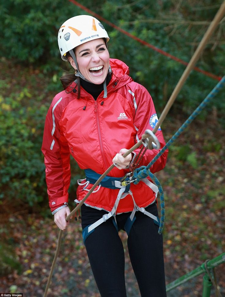 The Duchess of Cambridge abseils as she visits the Towers Residential Outdoor Education Centre on Friday