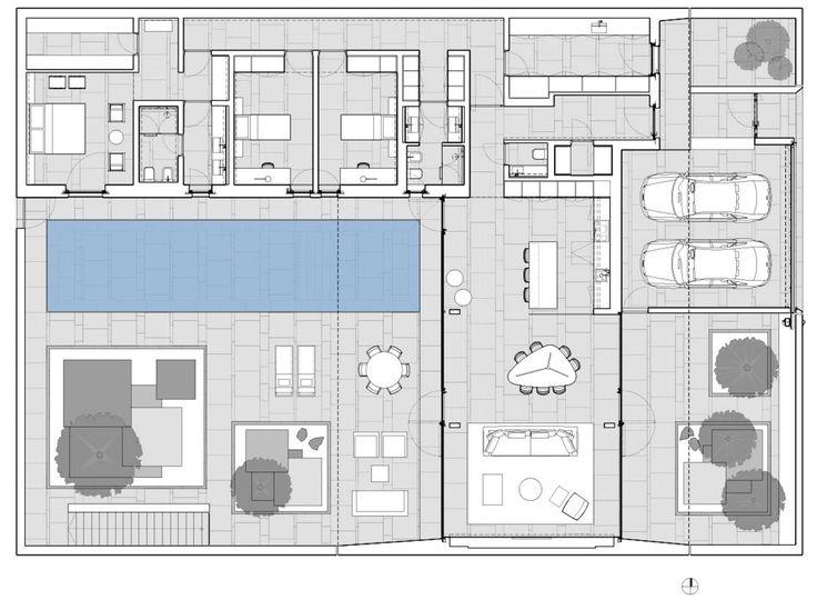 Plano de casa de un piso de 320 metros cuadrados