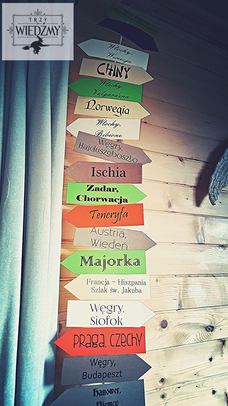 Rustykalne, jesienne, naturalne, ekologiczne, męskie, 60 urodziny. Dekoracja w postaci drogowskazów wskazujących niektóre kierunki podróży solenizanta. Wykonana metodą zrób - to - sam. / /Rustic, fall, natural, wood, woodland, eco, birthday, man, party, 60, 60th decorations, ideas,signs, signpost, travel, paper, colorfull, tree, branch.