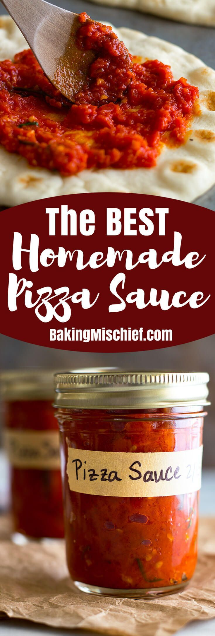 The best homemade pizza sauce! So easy to make and freezer friendly for a quick and easy dinner. From http://BakingMischief.com