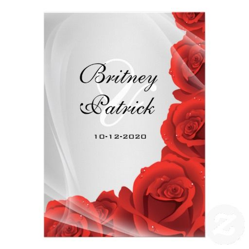 Silver And Red Roses Wedding Invitation