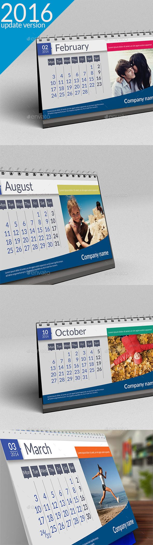 Desk Calendar 2016 Excellent desk calendar 2016-files are updated! File include:15 PSD editablefiles (1 PSD  first page, 2 PSD fil