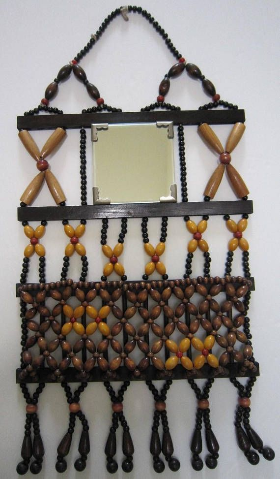 Wood Bead Wall Hanging Mirror w/ Pocket Wooden Beads Vintage Wall Decor Vintage Wall Hanging Boho Chic Wall Hanging Decor Hippie Decorations * Vintage Wood Bead Wall Hanging Mirror with Pocket - Its beautiful and very unique! Hang it on wall in entryway and use pocket for outgoing