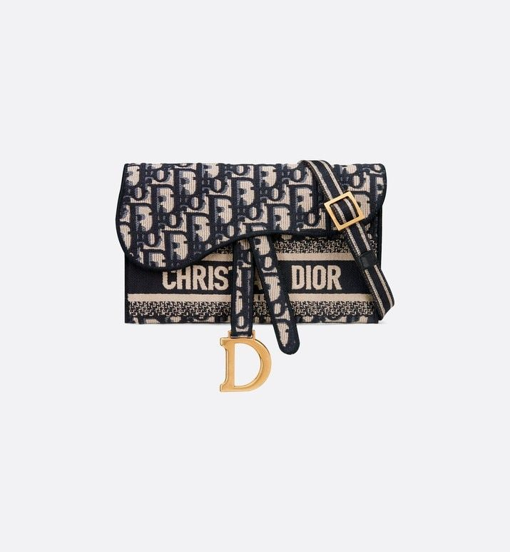Slim Saddle Pouch Blue Dior Oblique Embroidery Bags Women S Fashion Dior Christian Dior Bags Bags Dior
