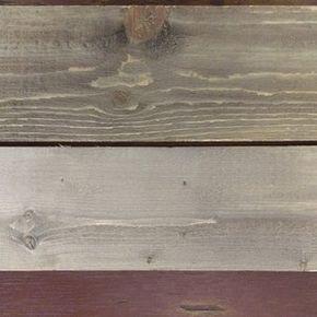 Une fois le bois séché, on s'aperçoit qu'on a une très belle imitation de bois de grange.  (En haut: Pin. En bas: Épinette)