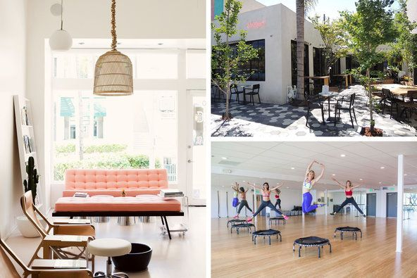 Inside the Olive + June nail salon; outdoor seating at Zinque; a trampoline workout at Body by Simone.